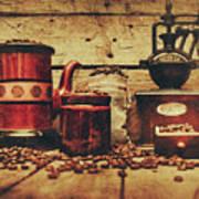 Coffee Bean Grinder Beside Old Pot Poster