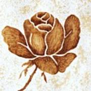 Coffee Painting Rose Blooming Poster