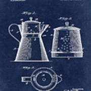 Coffee Pot Patent 1916 Blue Poster