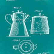 Coffee Pot Patent 1916 Green Poster