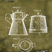 Coffee Pot Patent 1916 Grunge Poster