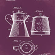 Coffee Pot Patent 1916 Red Poster