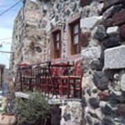 Coffee Shop In Santorini Poster