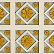 Coffered Ceiling Detail At Getty Villa Poster by Teresa Mucha