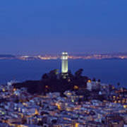 Coit Tower At Dusk San Francisco California Poster
