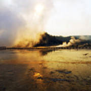 Cold Morning Sunrise At Grand Prismatic Spring Poster