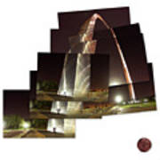 Collage Of Gateway Arch At Night Poster