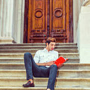 College Student Reading Red Book, Sitting On Stairs, Relaxing Ou Poster