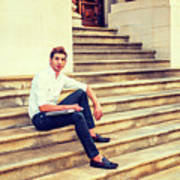 College Student Sitting On Stairs, Relaxing Outside Poster