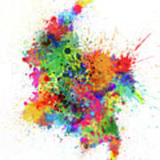 Colombia Paint Splashes Map Poster