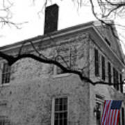 Colonial House With Flag Poster