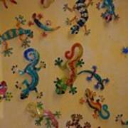 Color Lizards On The Wall Poster