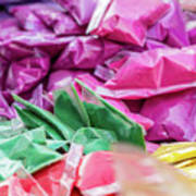 color pigments as an offering in the temple, Chennai, Tamil Nadu Poster
