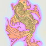 Color Sketch Koi Fish Poster