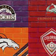 Colorado Sports Teams On Brick Poster