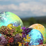 Colored Easter Eggs In Basket And Spring Flowers Poster