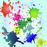 Colored Splashes On A Very Beautiful Blue Background Poster