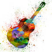 Colorful Acoustic Guitar 02 Poster