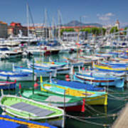 Colorful Boats Docked In Nice Marina, France Poster