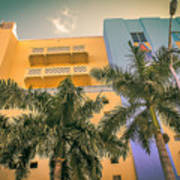 Colorful Building And Palm Trees Poster