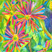 Colorful Daisies Poster