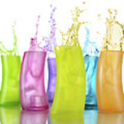 Colorful Drink Splashing From Glasses Poster