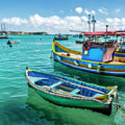Colorful Fishing Boats Poster