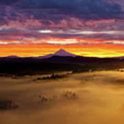 Colorful Foggy Sunrise Over Sandy River Valley Poster