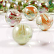 Colorful Glass Marbles Close-up Views Poster
