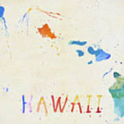 Colorful Hawaii Map Poster