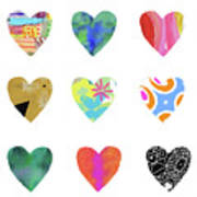 Colorful Hearts- Art by Linda Woods Poster