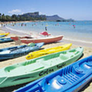 Colorful Kayaks On The Beach Poster