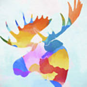 Colorful Moose Head Poster