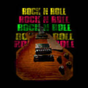 Colorful Music Rock N Roll Guitar Retro Distressed  Poster