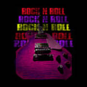 Colorful Music Rock N Roll Guitar Retro Distressed T-shirt Poster