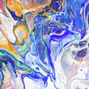 Colorful Night Dreams 5. Abstract Fluid Acrylic Painting Poster