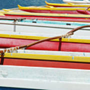 Colorful Outrigger Canoes Poster