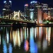 Colorful Pittsburgh Lights Poster