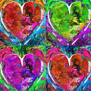 Colorful Pop Hearts Love Art By Sharon Cummings Poster