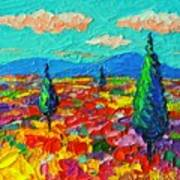 Colorful Poppies Field Abstract Landscape Impressionist Palette Knife Painting By Ana Maria Edulescu Poster