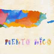 Colorful Puerto Rico Map Poster