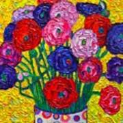 Colorful Ranunculus Flowers In Polka Dots Vase Palette Knife Oil Painting By Ana Maria Edulescu Poster