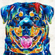 Colorful Rottie Art - Rottweiler By Sharon Cummings Poster