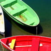 Colorful Row Boats Poster