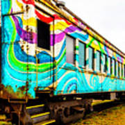 Colorful Skunk Train Passenger Car Poster