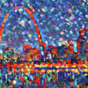 Colorful St Louis Skyline Poster