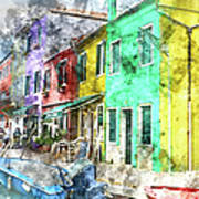Colorful Street In Burano Near Venice Italy Poster