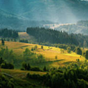 Colorful Summer Landscape In The Carpathian Mountains. Ukraine,  Poster