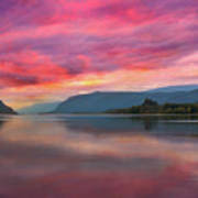 Colorful Sunrise At Columbia River Gorge Poster