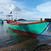 Colorful Turquoise Boat Near The Cambodia Vietnam Border Poster